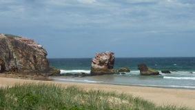 Red Rock headland with rock formation.