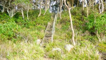 Staircase down to the edge of the lake