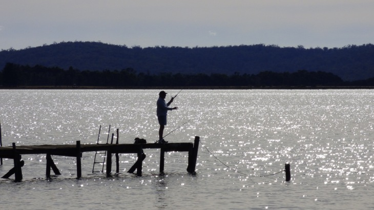 Dean fishing in Georges Bay