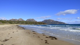 Looking back at the Freycinet from the beach