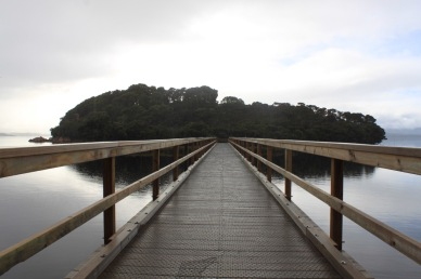 The jetty onto Sarah Island, a convict penal settlement for both men and women convicts that operated between 1822 and 1833.