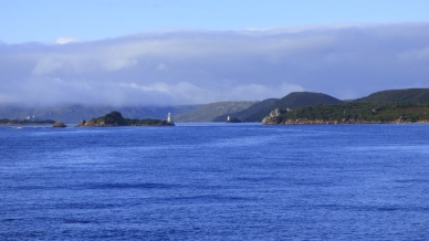 Outside Hells Gates looking back into Macquarie Harbour. Named as such by the convicts who were sent to Sarah Island, a hell on earth and therefore, this entry into the harbour was the gates to hell or Hells Gates.
