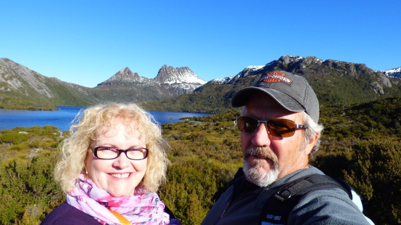 Dean and I upon arriving at Dove Lake.