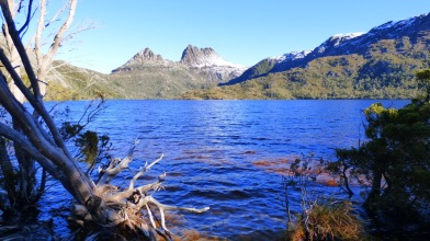 Across Dove Lake from the water's edge.