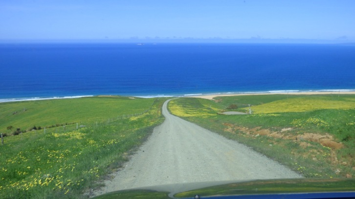 (The other side) The road down to Tunkalilla beach.