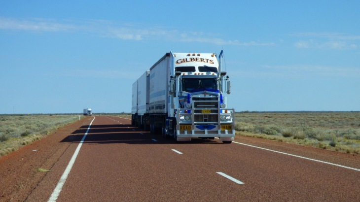 Two approaching road trains - B-Triples were the largest we saw.