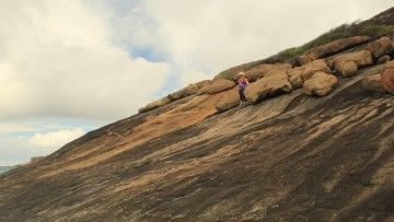 That's me walking down the granite and onto the beach