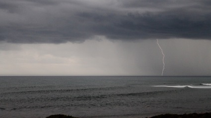 Lightening off shore as a huge storm blew in.