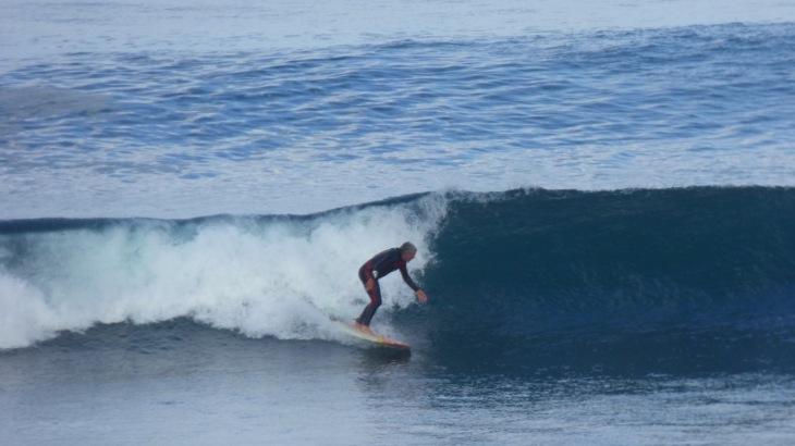 Dean surfing Cactus Beach