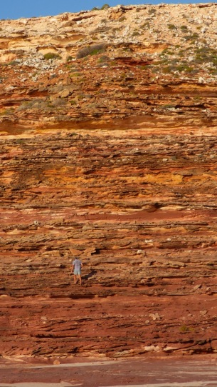 Dean climbing the cliff face at Eagle Gorge