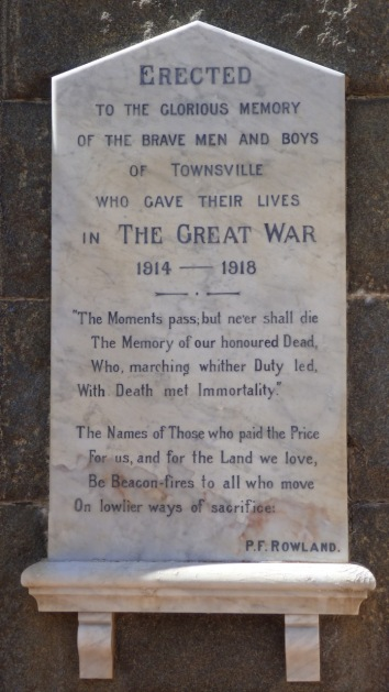 The clocktower memorial plaque inscriptions include a verse by P F Rowland