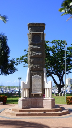 The clocktower memorial, now devoid of the clock