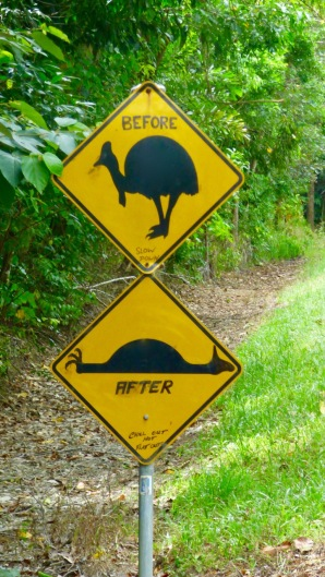 The locals have fun with the signage