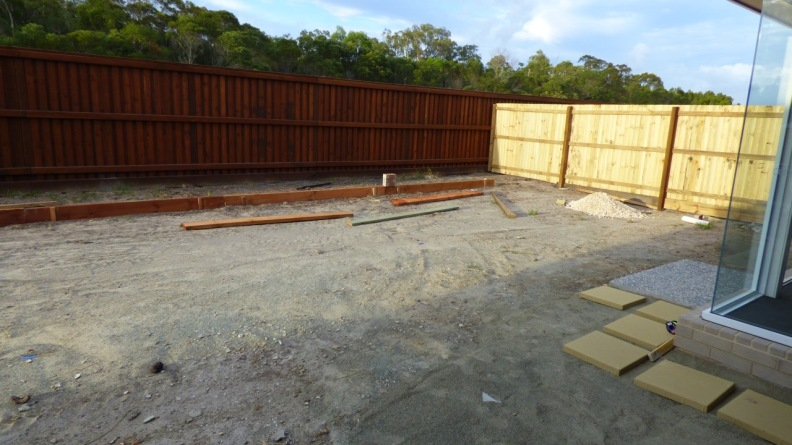 The backyard - testing the position of pavers